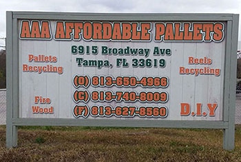 AAA Affordable Pallets &  Reels street sign